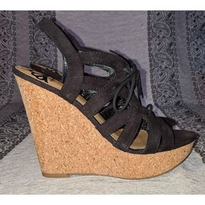 FERGILICIOUS Lace Up Cork Wedges